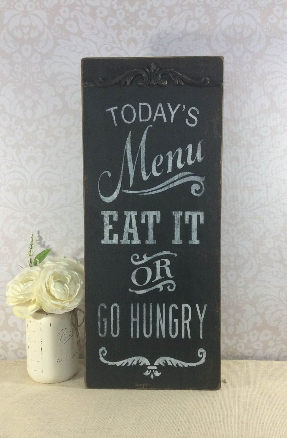 Todays Menu Sign Rustic Chalkboard Look Kitchen Vintage Style Black Distressed Wooden Gift For Cook By SignsByDiane On Etsy