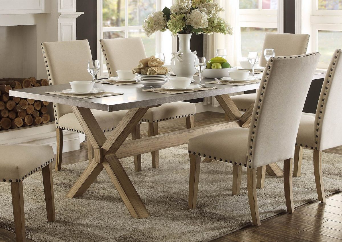 Home elegance dining table with chairs luella collection