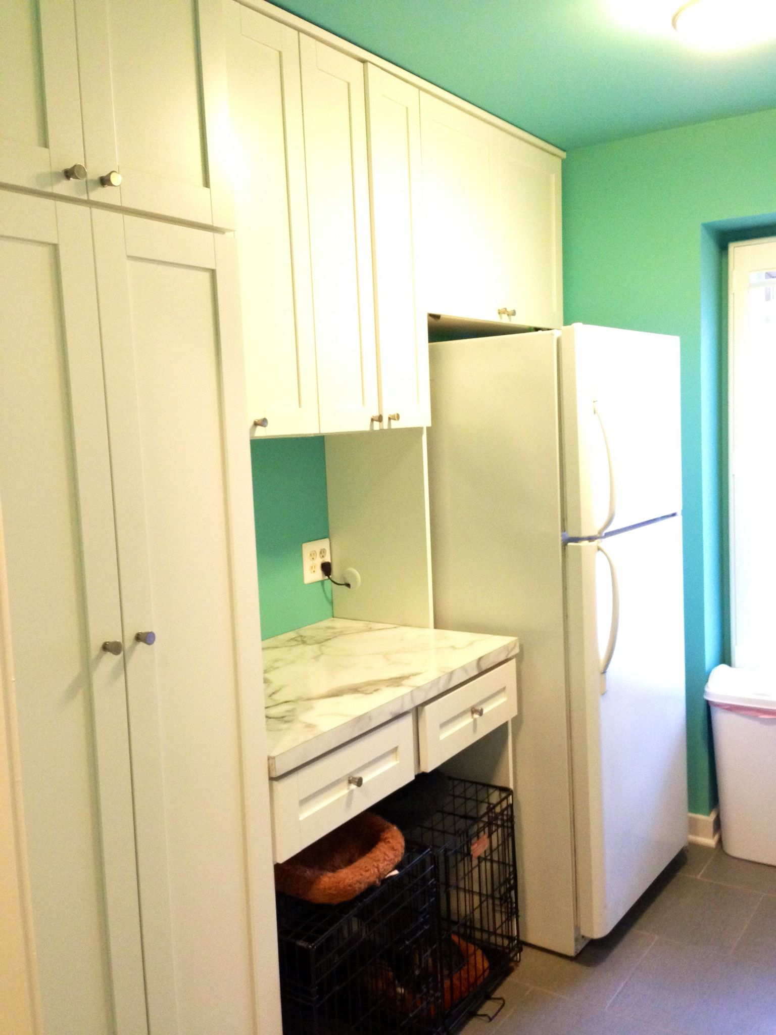 Remodeled Laundry Room With Work Space Or Dog Crate Storage Using California  Closets In Raleigh