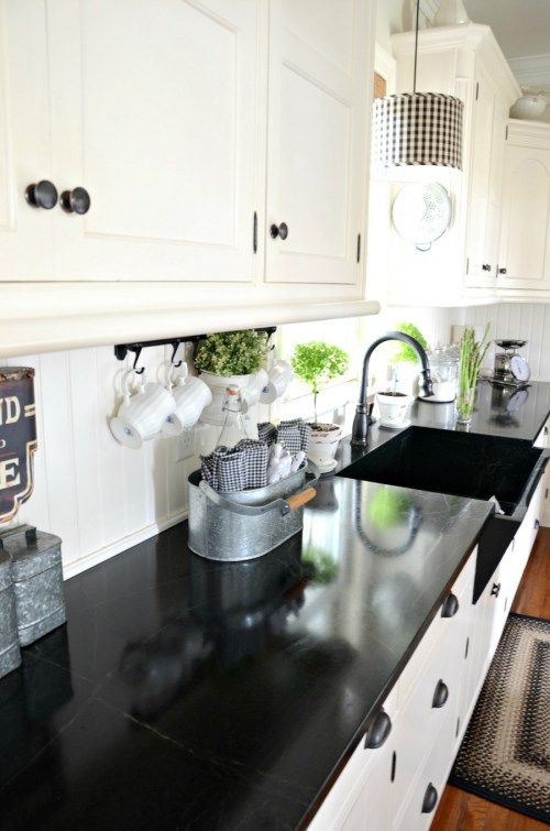 FARMHOUSE KITCHEN - StoneGableThe soapstone countertops and sink are a modern take on farmhouse style! The look is pure farmhouse but the soapstone is a fabulous modern convenience!