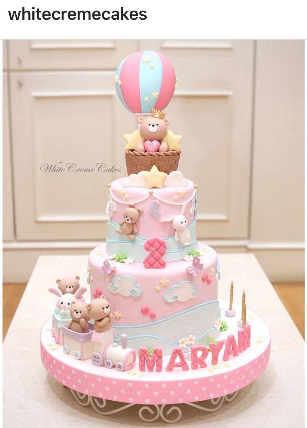 Kawaii, pink, cartoon cake, girly, birthday cake 1st