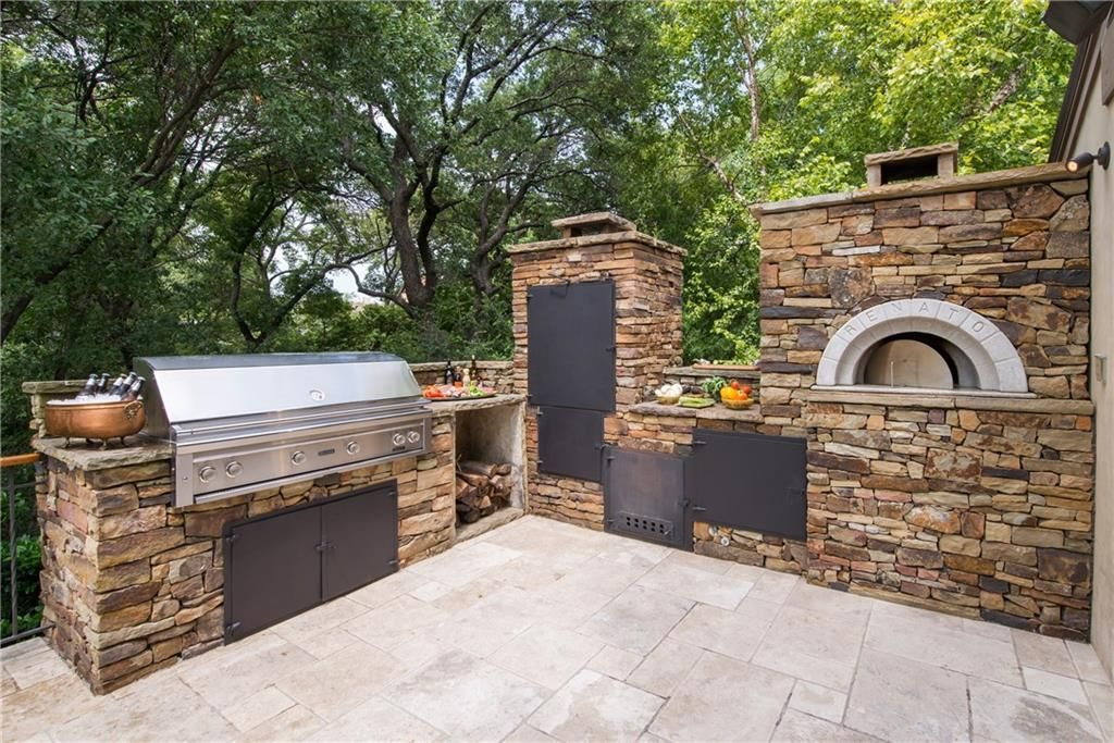 outdoor kitchen oven ikea pull out pantry with smoker and pizza fort worth texas