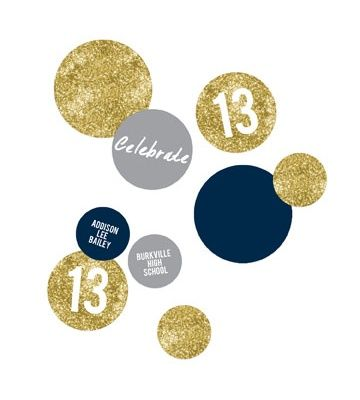 Graduation Party Decorations -- Glam Grad Gold Table Decor. Personalize these graduation party decorations and use them for table toppers, centerpieces, garland and more!