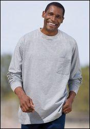 Mens Long Sleeve Pocket Tees - MD to 4X - $2.75 each(36 piece case) http://goo.gl/DBgwPF