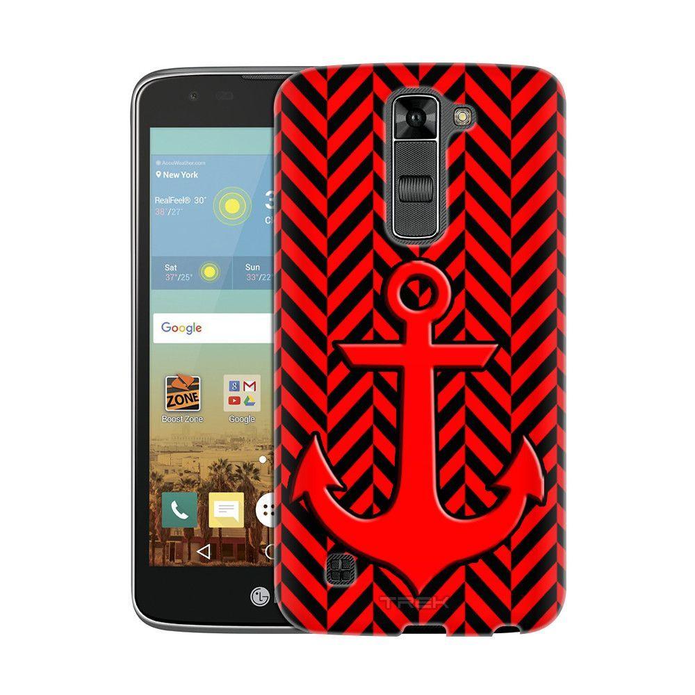 LG K8 Anchor on Chevron Mini Red Black Slim Case