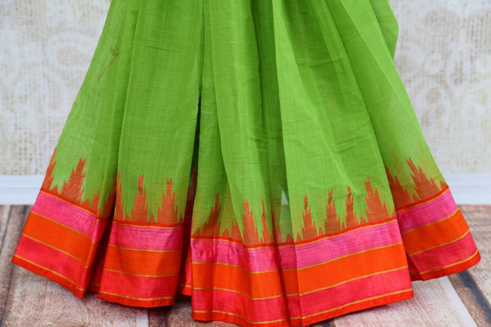 Pink with Green Border Linen Saree I Handwoven Saree I FREE SHIPPING in USA