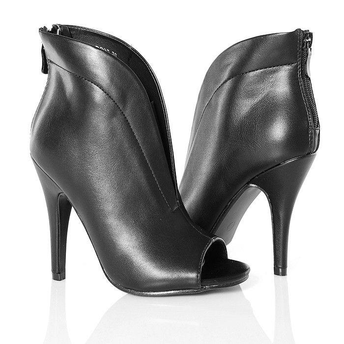 Botki - Czarne Imponujące Open Toe - Zgrabne - www.BUU.pl #black #shoes
