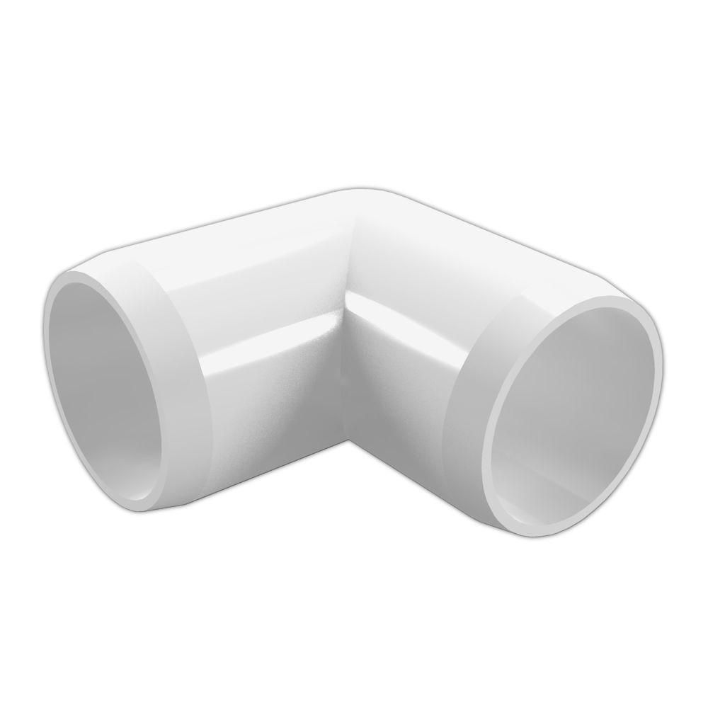 Formufit 1 1 2 In Furniture Grade Pvc 90 Degree Elbow In White 4 Pack F11290e Wh 4 The Home Depot Pvc Fittings Furniture Grade Pvc Pvc