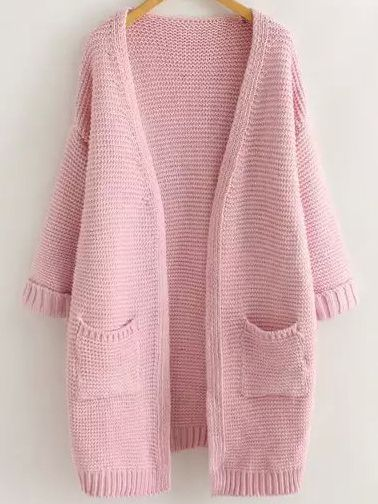 Pink Long Sleeve Casual Pockets Cardigan , Free&Fast Shipping