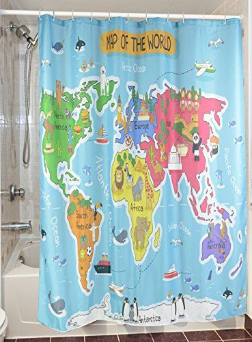 Goodbath 72x72Inch Animal World Map Polyester Fabric Shower Curtain More Info Could Be