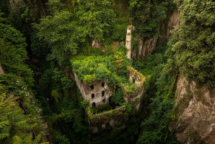 This old and long-abandoned mill in Sorrento, Italy looks more like vegetation covered cliffside than a factory.