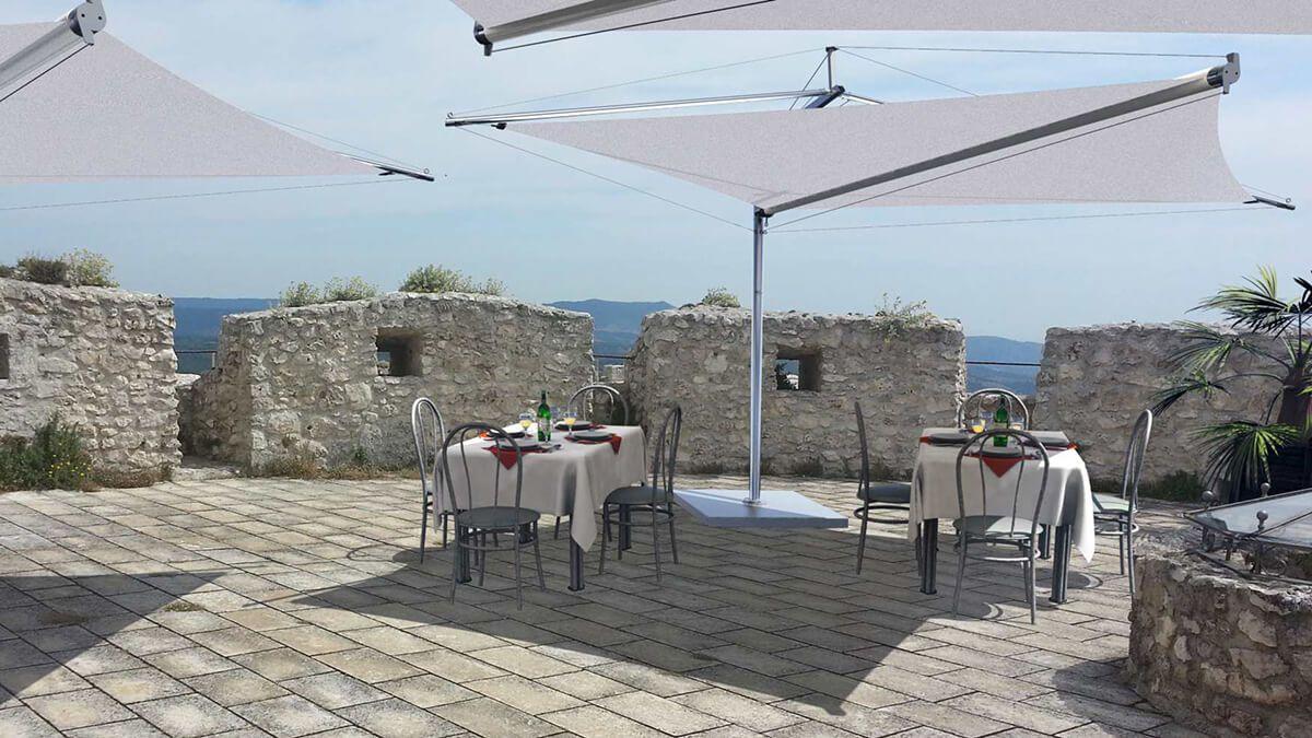 Coberti toldos vela de sombra autoportantes en restaurante for Toldos velas para terrazas