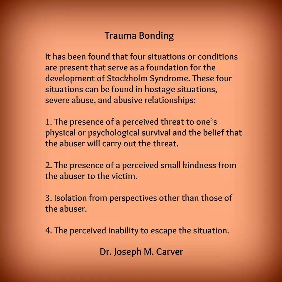 Trauma bonding is common among trauma survivors. It is ...
