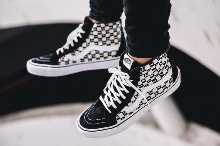Supreme X Vans Sk8 Hi Checkerboard Black 2016 By Fivedoubleues