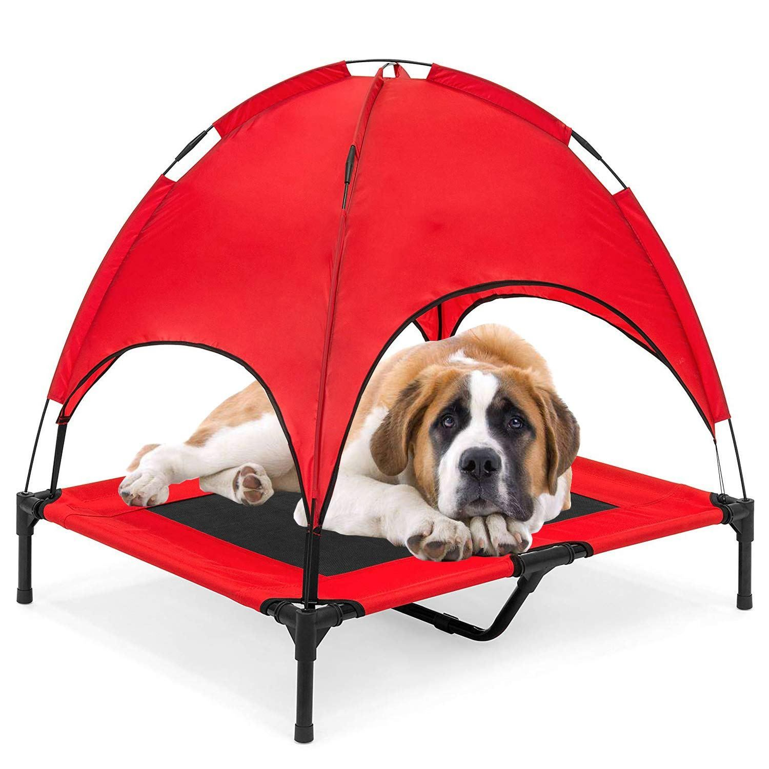 Reliancer 30 36 48 Xlarge Elevated Dog Cot With Canopy Shade 1680d Oxford Fabric Outdoor Pet Cat Cooling Bed Tent W Convenient Carrying Bag Indoor Sturdy Steel Frame Portable For Camping Beach Dog Cots Bed