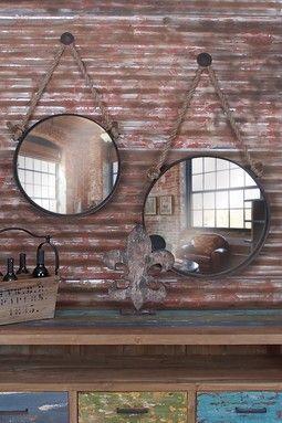 Hanging Circle Mirrors - Set of 2