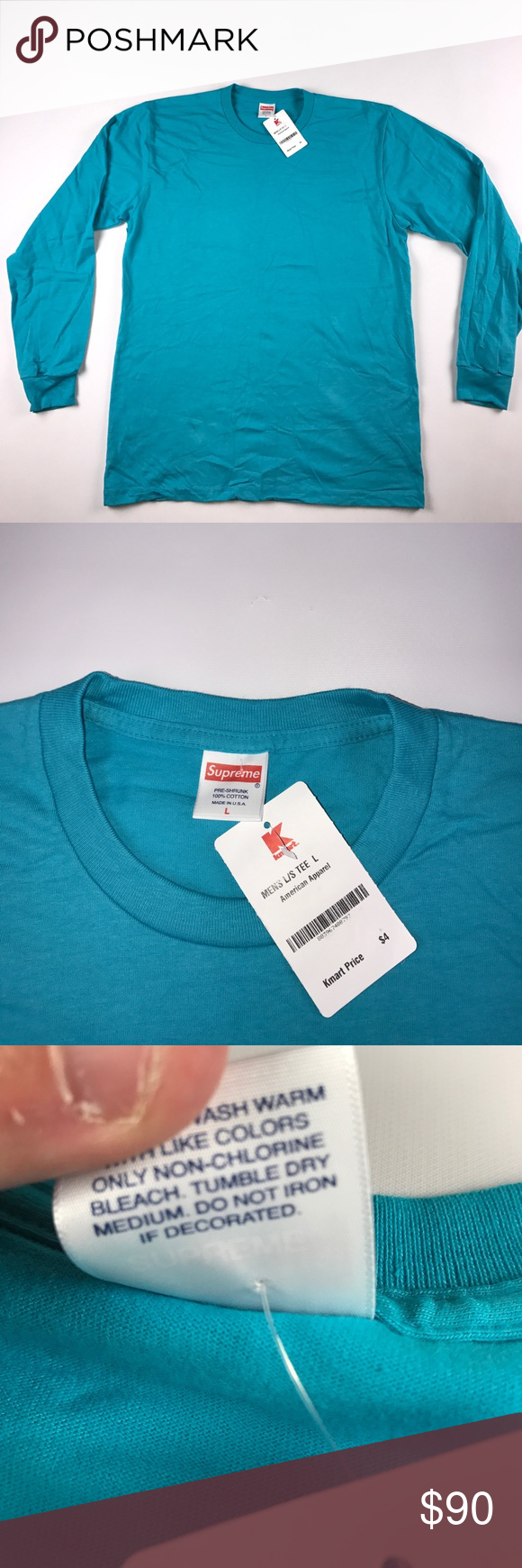 newest 75364 00e08 New Large Supreme Kmart Long Sleeve Shirt Blue New with tags ...