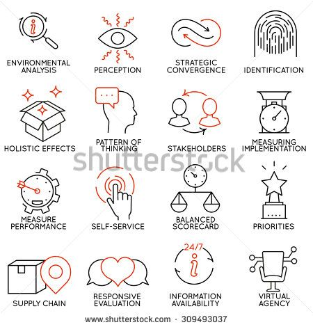 Vector set of 16 icons related to business management, strategy, career progress and business process. Mono line pictograms and infographics design elements - part 5