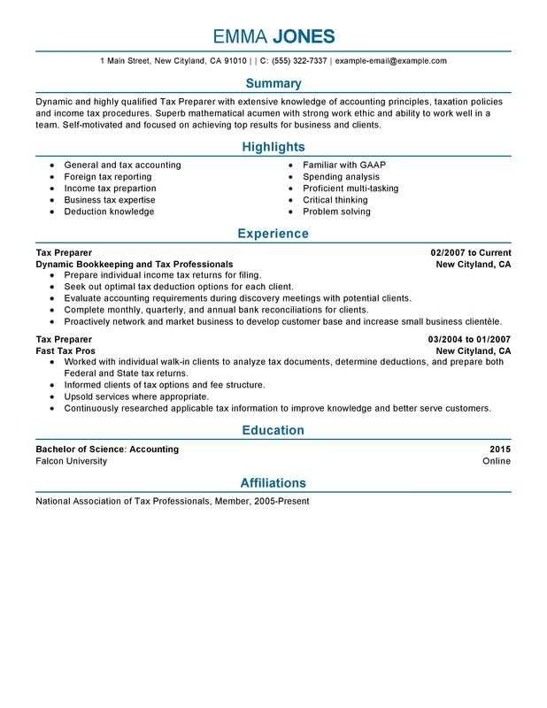Tax Preparer Resume Sample Resumes Pinterest - sample of a perfect resume