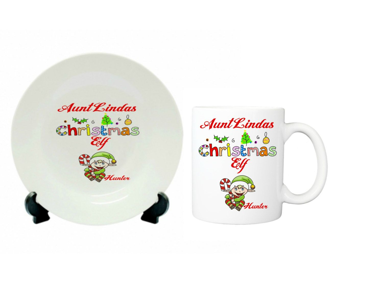 "Christmas Gift Set, Plate and Mug set, Custom gift set, 10"" plate and 11 oz mug, personalized gifts, elf, elves by ForYouByRose on Etsy"
