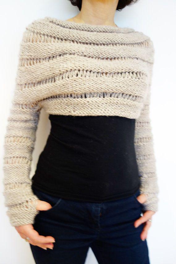 Pull à tricoter motif – avoine recadrée trou de pouce pull / gros tricot haussement d'épaules / longueur réglable   – Stricken