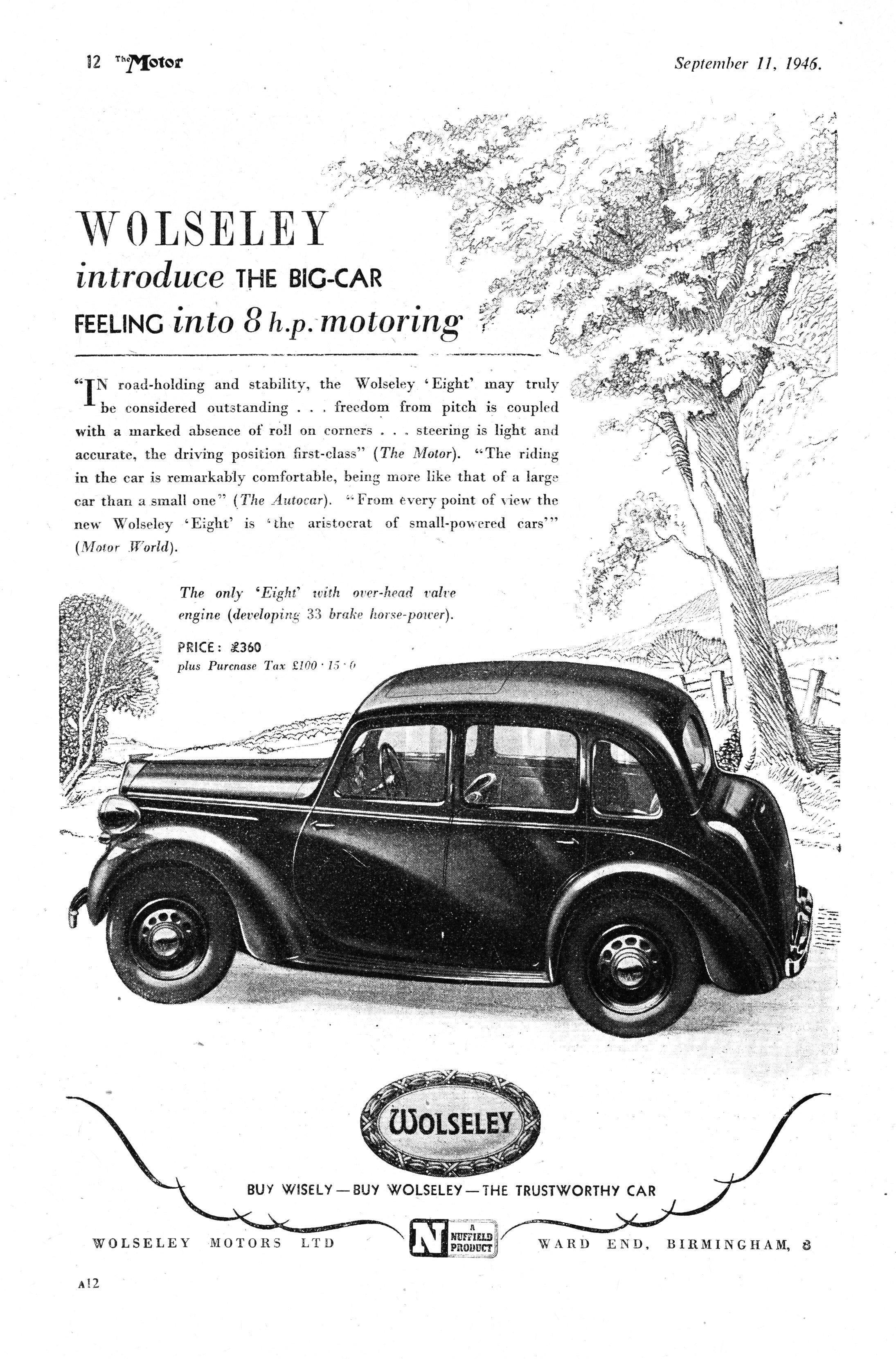 Wolseley Eight 8 Motor Car Autocar Advert 1946   Retro/Vintage ...