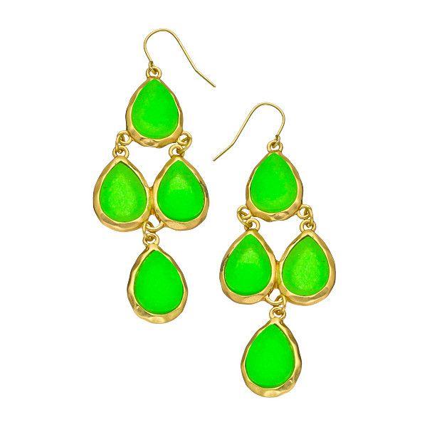 Neon Faux Druzy Teardrop Cascades Earrings 17 Liked On Polyvore Featuring Jewelry