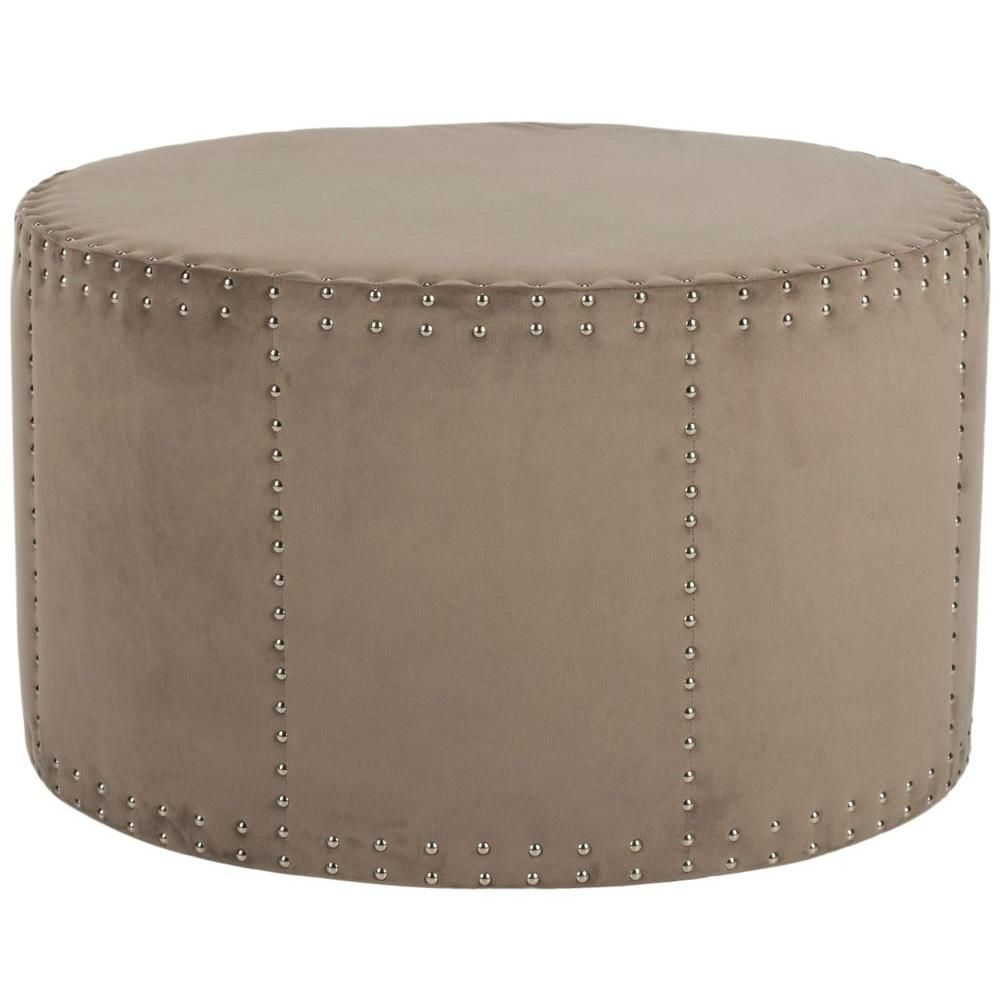Superb Safavieh Sherri Mushroom Taupe Accent Ottoman Mcr4640E Inzonedesignstudio Interior Chair Design Inzonedesignstudiocom