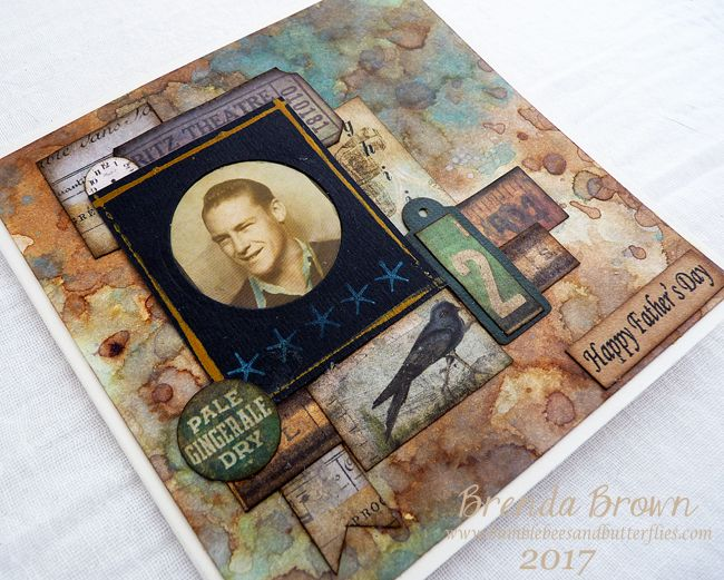 Bumblebees and Butterflies: Tim Holtz inspired background card #2