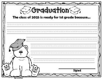 Kindergarten Graduation Writing Craftivity Kindergarten