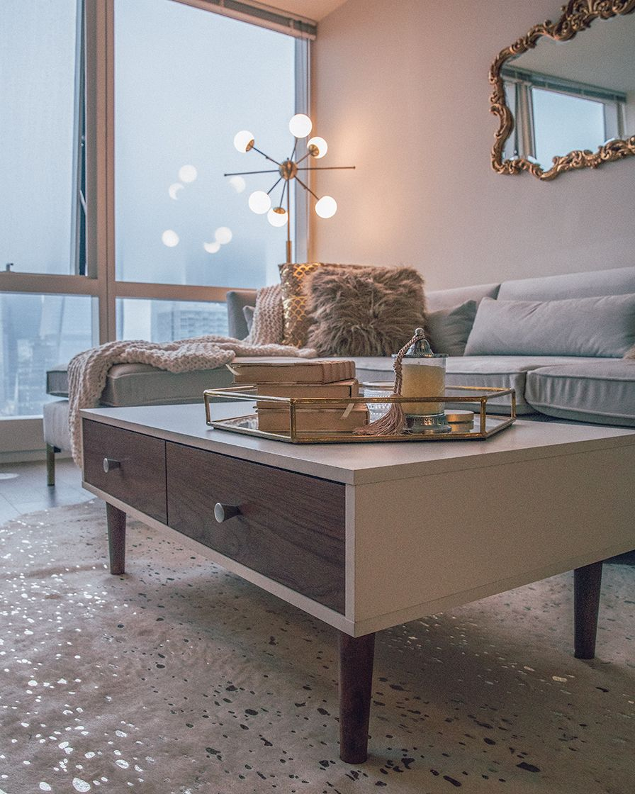 Baxton Studio Gemini Coffee Table in White/Walnut Coffee