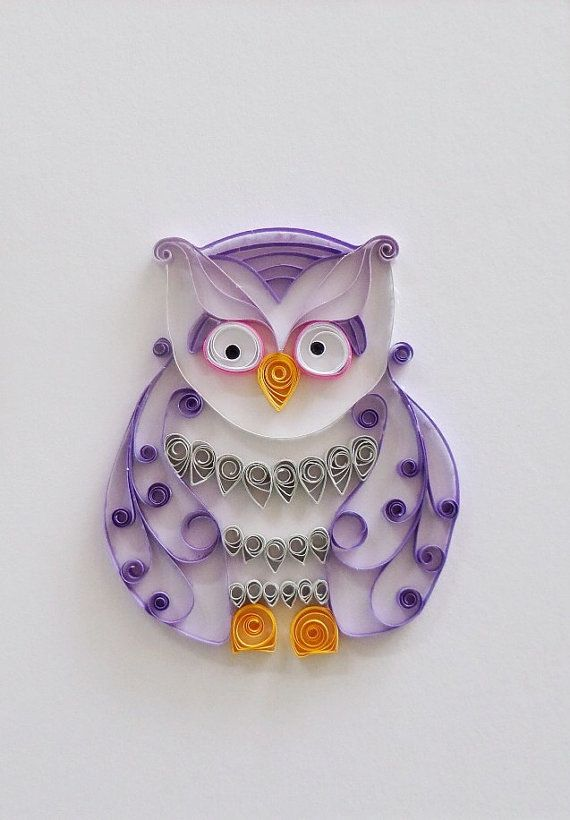Quilled paper purple owl home decor paper owl wall decor for Quilling home decor