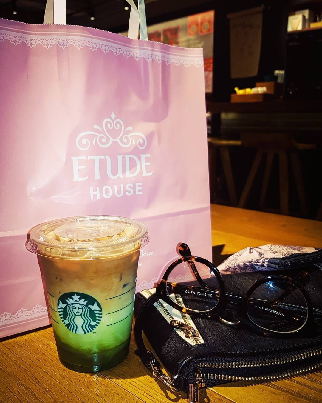 Asian Cosmetics Shopping With A Side Of Matcha Espresso Fusion Etudehouse Starbucks Matcha Coffee With Images Cosmetic Shop Louis Vuitton Bag Neverfull Insta Fashion