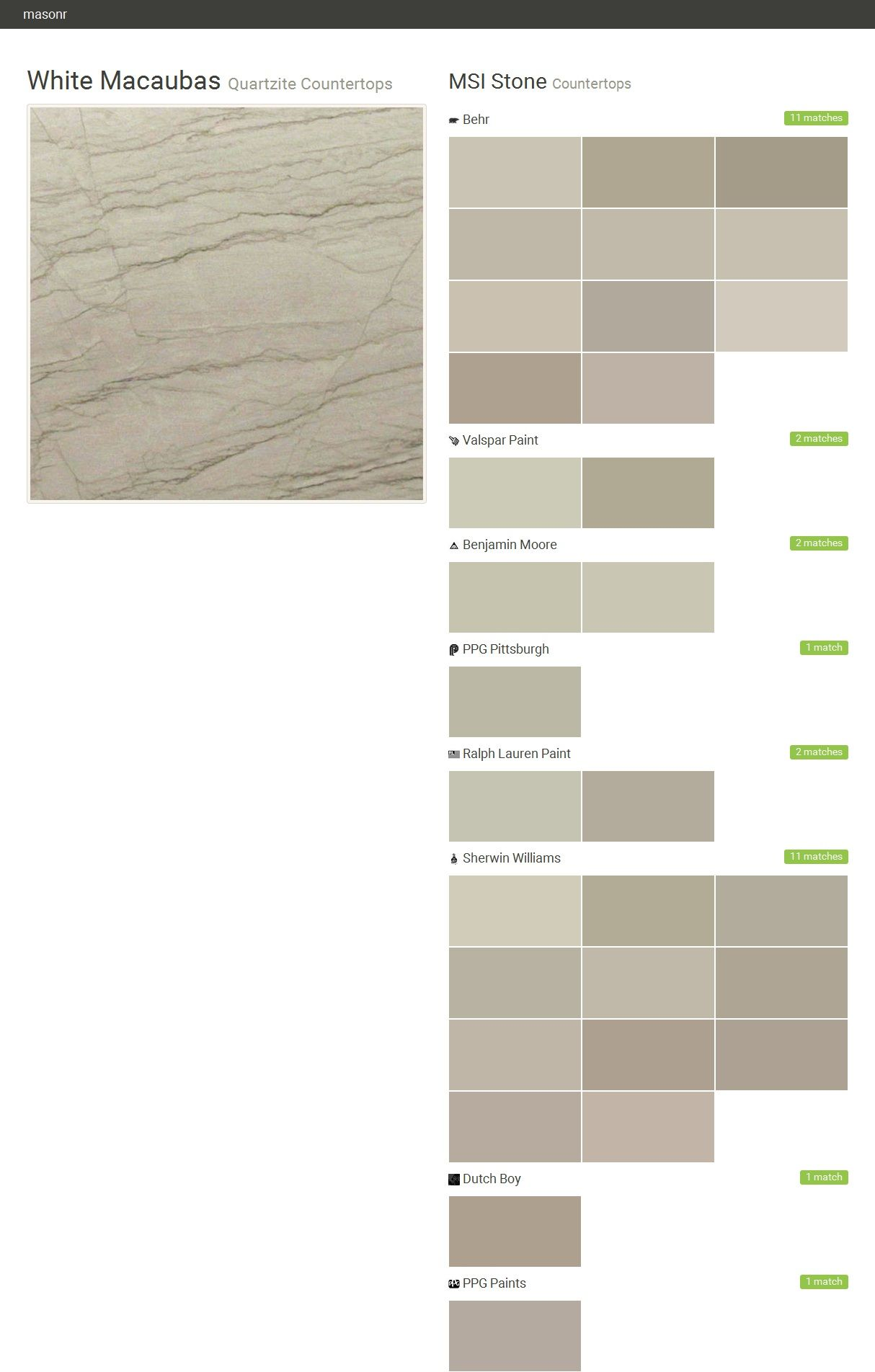 White Macaubas. Quartzite Countertops. Countertops. MSI Stone. Behr.  Valspar Paint.
