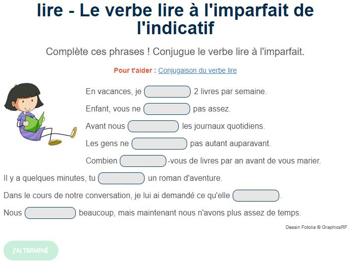 Exercice De Conjugaison Le Verbe Lire A L Imparfait Exercices Conjugaison Exercice De Francais Cm1 Verbe