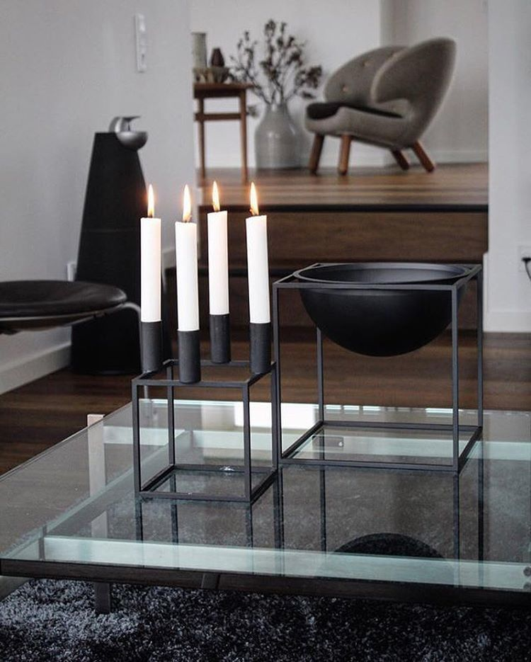 The Kubus 4 Candleholder And Kubus Bowl In Black Work As