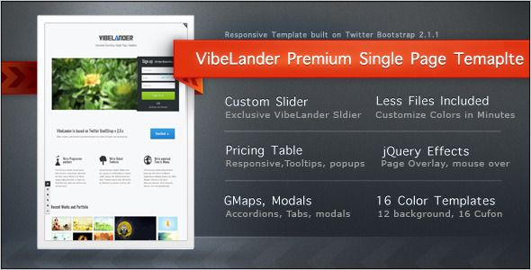 VibeLander One Page Responsive Template | Themes | Page