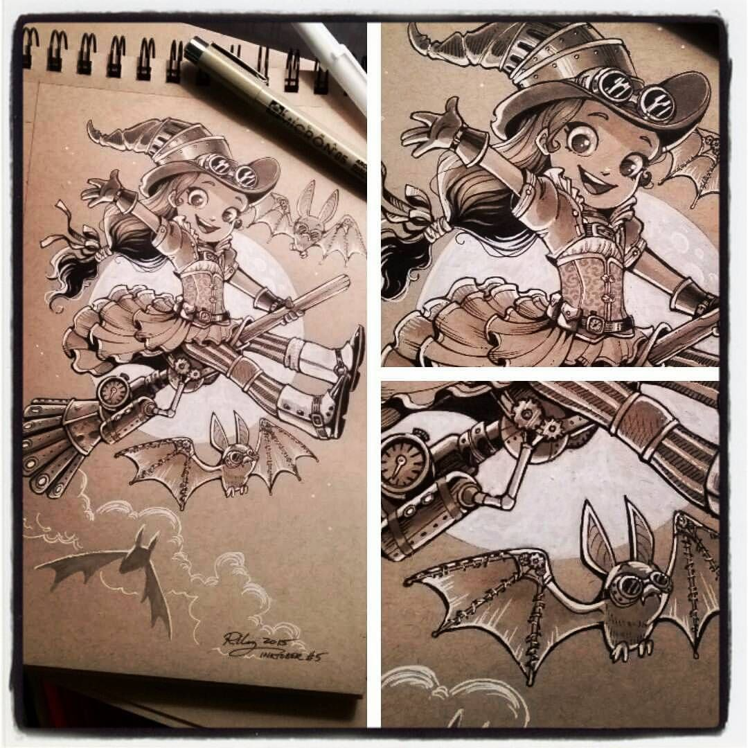 "kelleeart: "" Little Steampunk witch! #Inktober #inked #characterdesign #cartoon #steampunk #girl #character #illustration #art #drawing #sketch #traditionalart #micronPen #witch #Halloween #kawaii..."