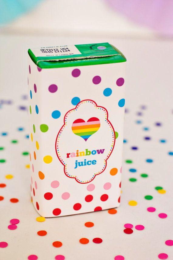 Rainbow Party Juice Box Wraps/Labels- Printable | Детский праздник ...