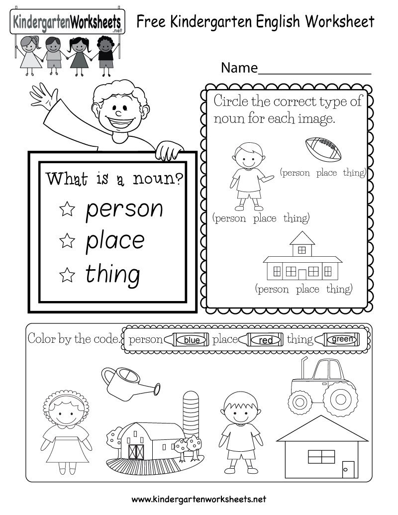 This English Grammar Worksheet Has A Fun Noun Lesson Kids Can Learn The English Worksheets For Kindergarten Kindergarten English Nouns Worksheet Kindergarten [ 1035 x 800 Pixel ]