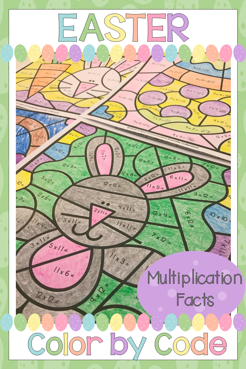 Easter Multiplication Color by Number | Math fact practice, Number ...