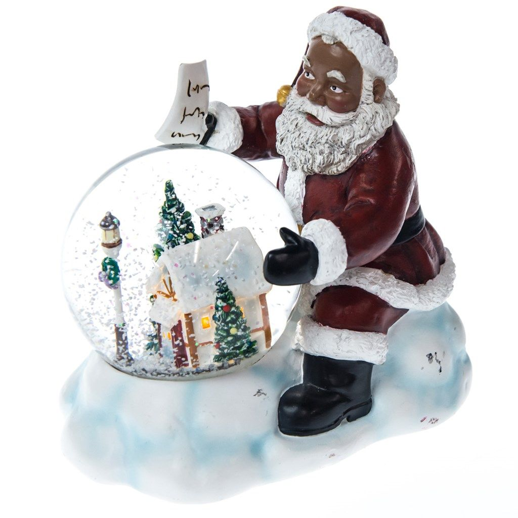 African American Santa Water Globe Christmas Traditional Collection Cracker Barrel Old Cou Christmas Traditions Christmas Figurines Classic Holiday Decor