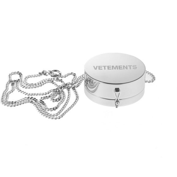 Vetements Grinder Pendant ($690) ❤ liked on Polyvore featuring jewelry, pendants, silver, chain pendants, chains jewelry, pendant jewelry and charm pendant