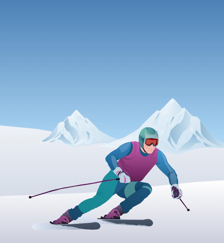 Открытка для горнолыжника, мужчину днем рождения