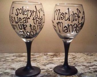 Harry Potter Marauder's Map Hand Painted Wine Glasses, I Solemnly Swear & Mischief Managed Wine Glass Set