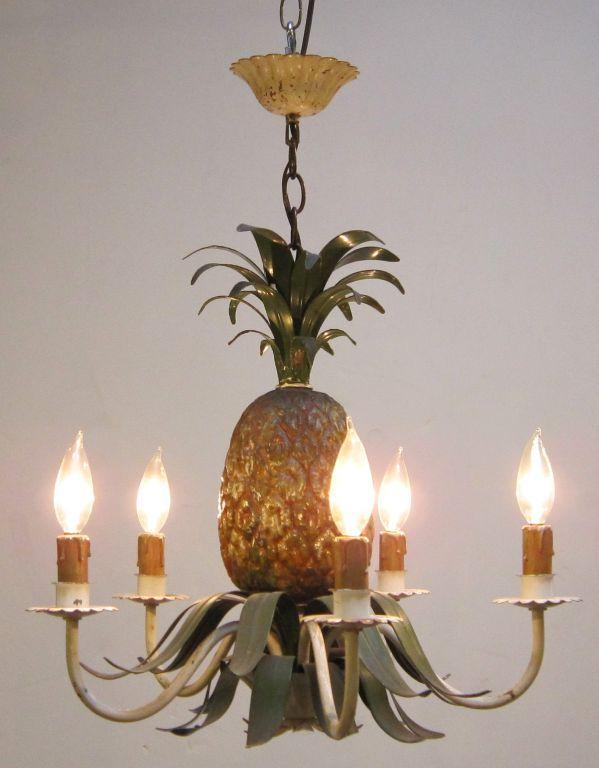 Italian Hanging Five Light Fixture With Pinele Design 19