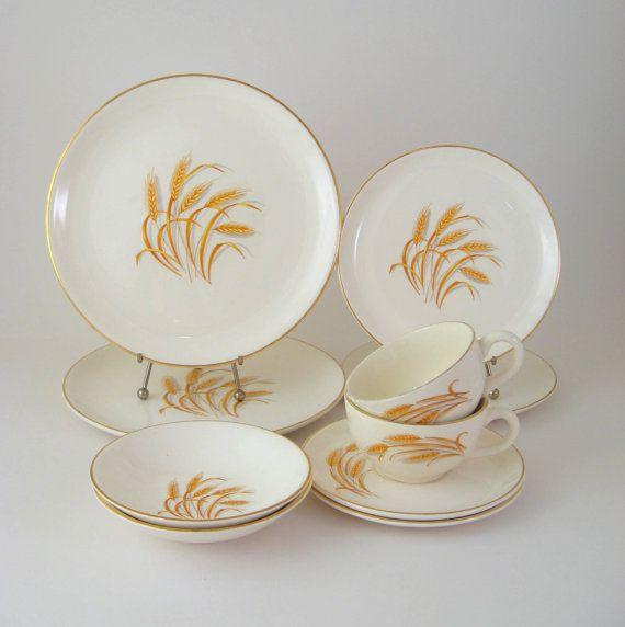 Vintage Dinnerware Set Service for 2 Homer by WoolTrousers on Etsy $18.00 & Vintage Dinnerware Set Service for 2 Homer Laughlin Golden Wheat ...