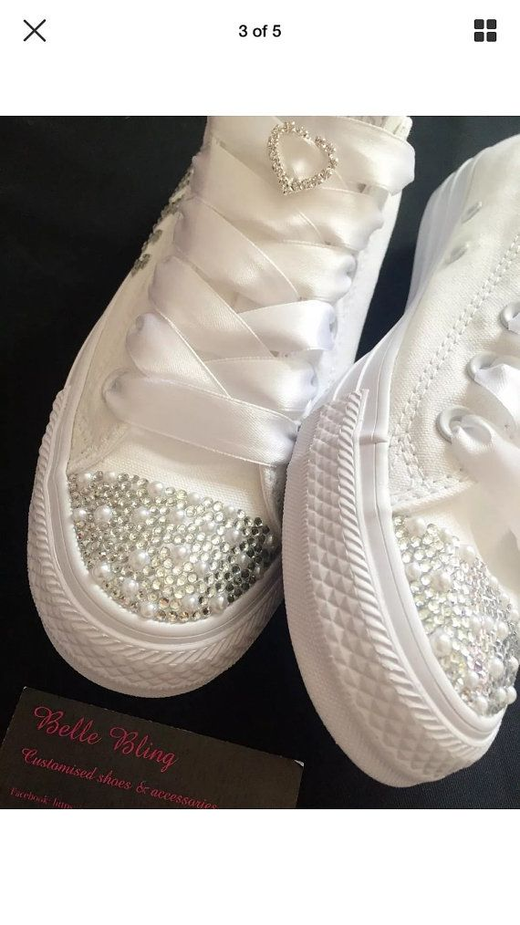 24a9f3ac182c Stunning custom made wedding converse. Customised with crystals