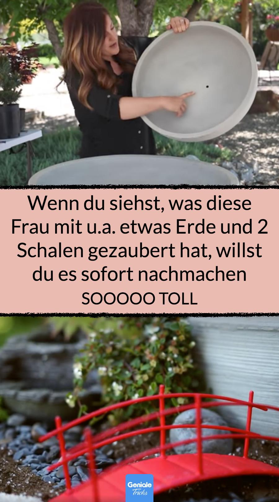Junge Frau macht Mini-Traumgarten in 2 Schalen.
