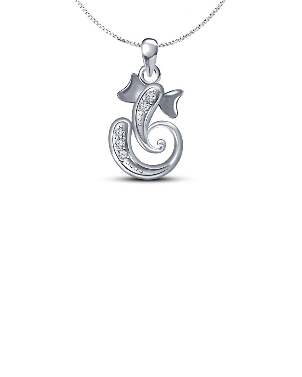 2a0fe3651 Real Diamond Sterling Silver Ganesh Ganpati Pendant With Silver Chain